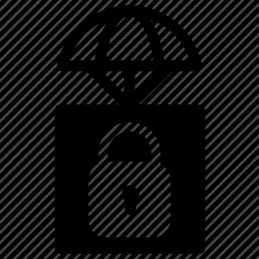 airdrop, delivery, lock icon
