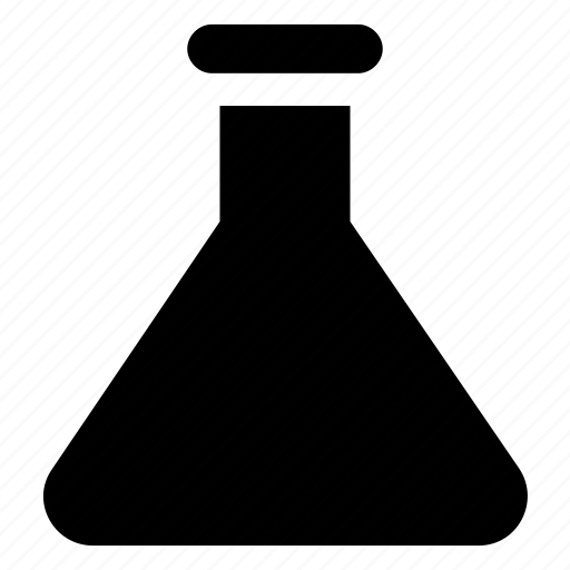 chemical flask, conical flask, lab flask, lab research, laboratory experiment icon