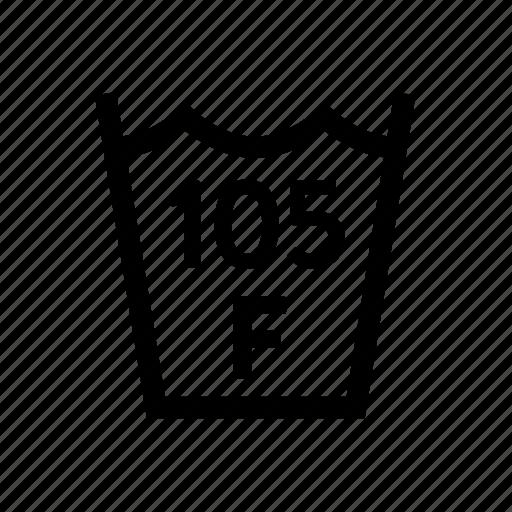 105f, fahrenheit, laundry, max, temp, temperature, washing icon
