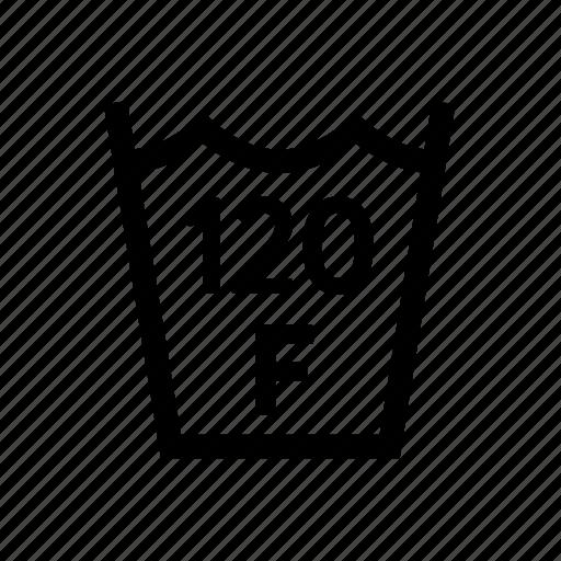 120f, fahrenheit, laundry, max, temp, temperature, washing icon