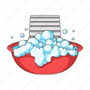 board, bowl, detergent, foam, grater, laundry icon