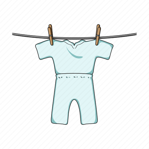 clothes, clothespin, drying, rope, things icon