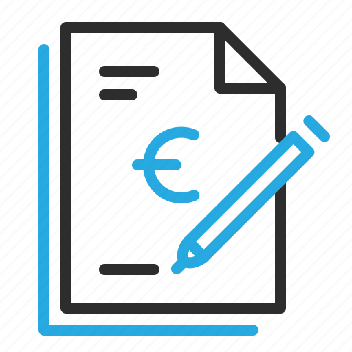 banking, contract, document, euro, papers, sign icon