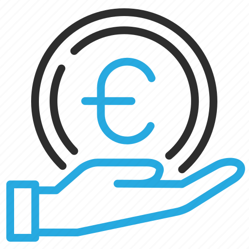 coin, euro, expenses, hand, money, sign icon