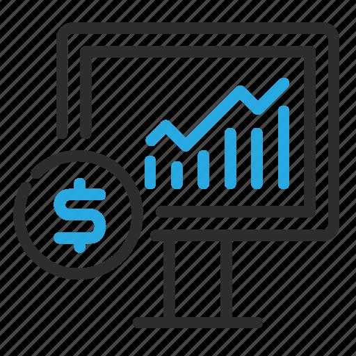 dollar, graph, growth, money, monitor icon