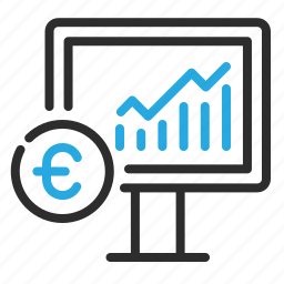 euro, graph, growth, money, monitor icon