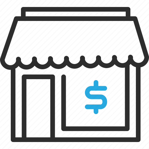 building, dollar, finance, money, shop, sign icon