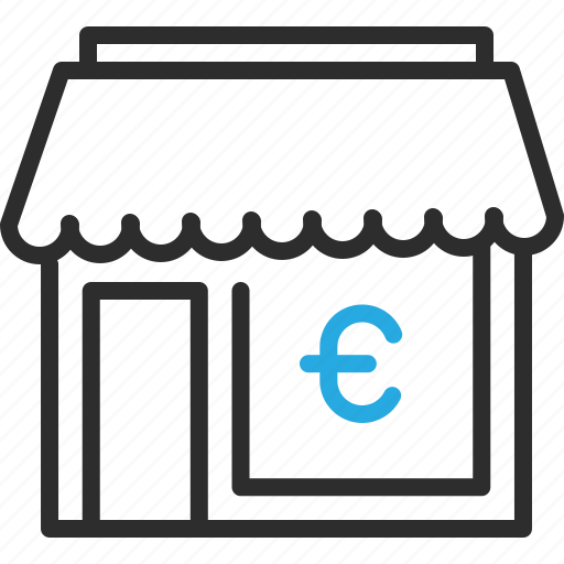 building, euro, finance, money, shop, sign icon