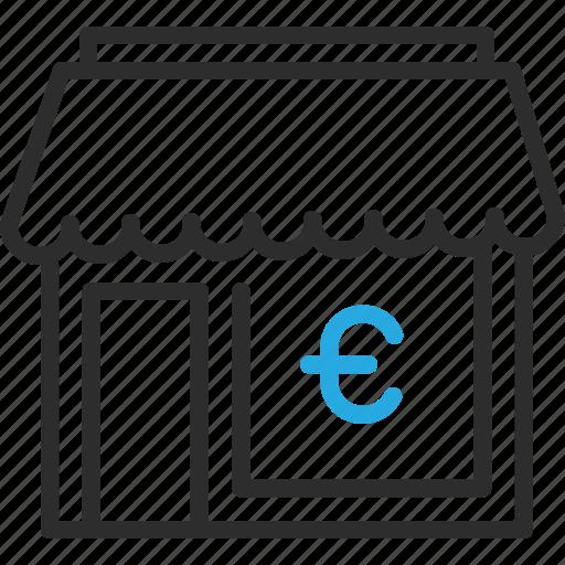Building, euro, finance, money, shop, sign icon - Download on Iconfinder