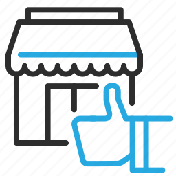 building, commerce, new, shop, thumbs, up icon