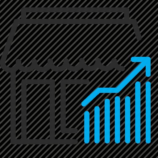 ecommerce, graph, money, shop, stats icon