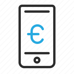 communication, euro, mobile, money, sign, smartphone icon