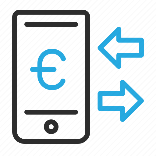 communication, euro, mobile, money, sign, smartphone, transfer icon