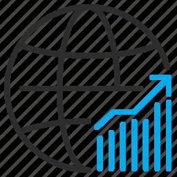 finance, globe, graph, money, trade, world icon