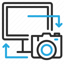 camera, computer, copy, device, pc, photography, sync icon