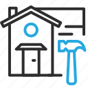 estate, fixer, home, house, real, repair, upper icon
