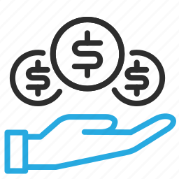 banking, coins, expenses, finance, hand, money, savings icon