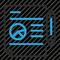 diagram, paper, pen, piechart, statistics, write icon