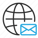 email, envelope, globe, mail, message, world icon