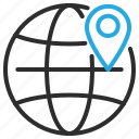 earth, globe, location, marker, navigation, pin, world icon