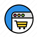 cart, online, ping, round, shop, web icon