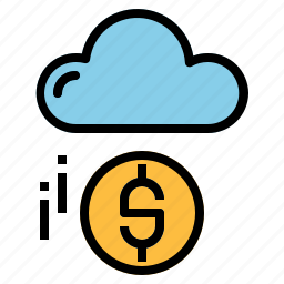 cloud, cloud computing, coin, money icon