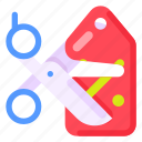 business, commercial, cutting, e commerce, price, shopping, tag icon