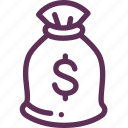 bag, dollars, money, us icon