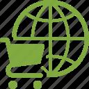 e-commerce, global shopping, shopping cart icon