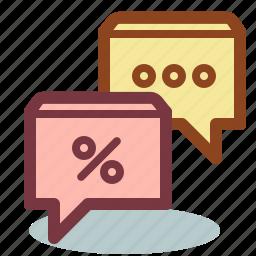 bubble, communication, dialog, discount, sale icon