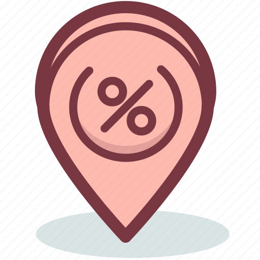 discount, discounts, map, marker, place, sale icon