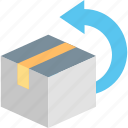 returns, box, package, parcel, product, purchase, return icon