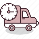 clock, delivery, fast, shipping, special, truck, urgent icon
