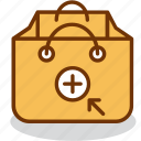 add, bag, buy, ecommerce, plus, purchase, shopping icon