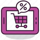 cart, ecommerce, internet, mobile, price, sale, shopping icon