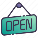 open, sign, store, hang, shop