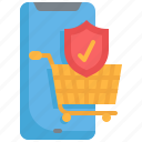 secure, basket, mobile, cart, ecommerce, shopping, security