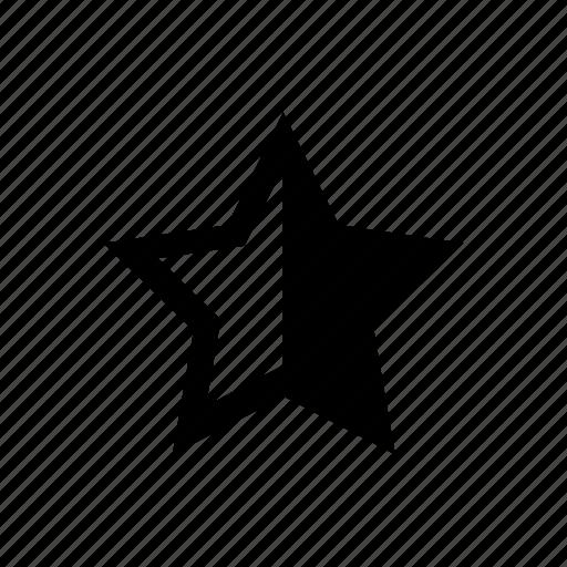 badge, half, half rating, rating, star icon
