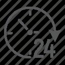 arrow, clock, day, four, hour, round, twenty icon
