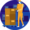 cargo, delivery, logistic, package, parcel, transport, worker icon