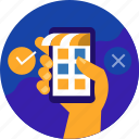 cargo, delivery, ecommerce, online, shop, shopping, smartphone icon