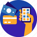 cash, mobile, money, online, payment, shopping, smartphone icon