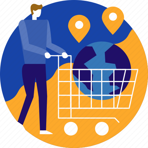 cargo, delivery, ecommerce, globe, online, shipping, shopping icon