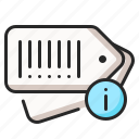 barcode, details, info, information, price, product, tag icon