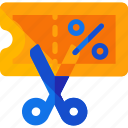 coupon, scissor icon