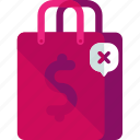 bag, cancel, delete, shopping icon