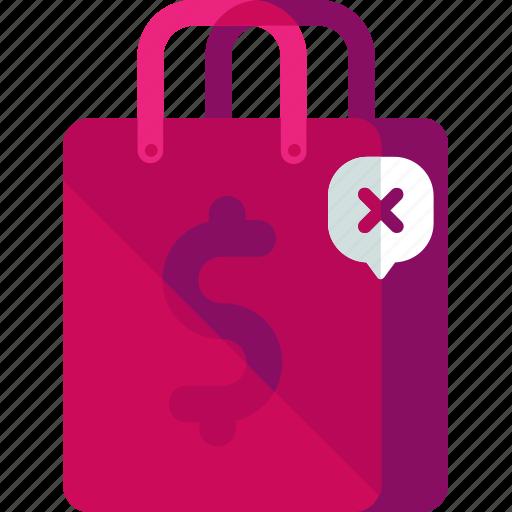 bag, cancel, delete, shopping icon