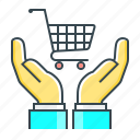 cart, consumer, consumer protection, e-commerce, ecommerce, hands, protection icon
