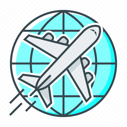 aircraft, airplane, delivery, globe, plane, shipping icon