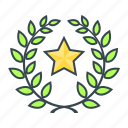 laurel wreath, premium, premium product, prize, product, star, wreath icon